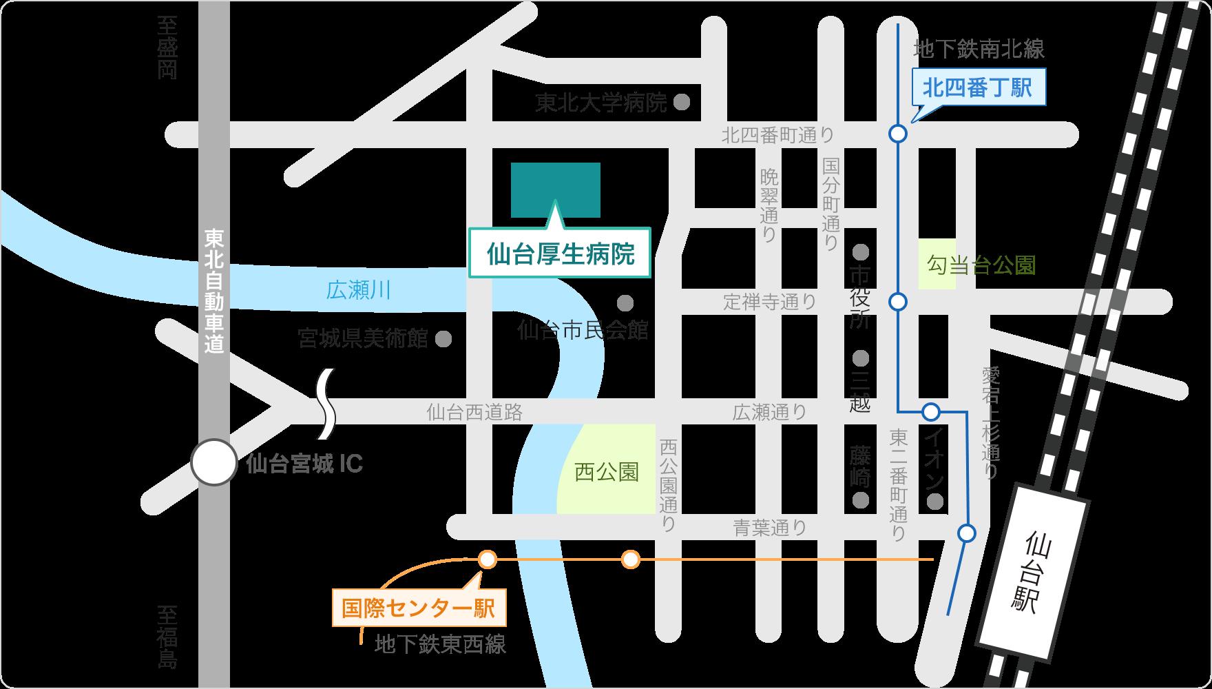 仙台厚生病院周辺の地図